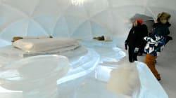 「氷のホテル」が北海道のトマムにお目見え。外には露天風呂