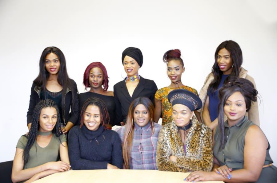 Brave Beauties participants after a visit to Gender Dynamix offices in Cape Town. Back row: L-R Progress Seloate, Kim Monoto, Mellisa Mbambo, Roxy Dlamini, Miss Tee Menu. Front row: L-R Katiso Kgope, Ricki Kgositau (GDX Director), Kat Serame, Yaya Mavundla and Dimpho Tsotetsi.