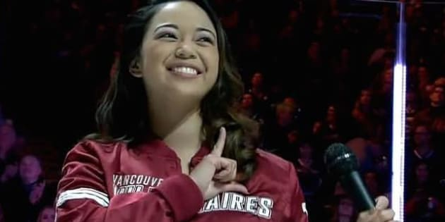 Vancouver-based singer Arielle Tuliao appears at a Vancouver Canucks hockey game on March 29, 2017.