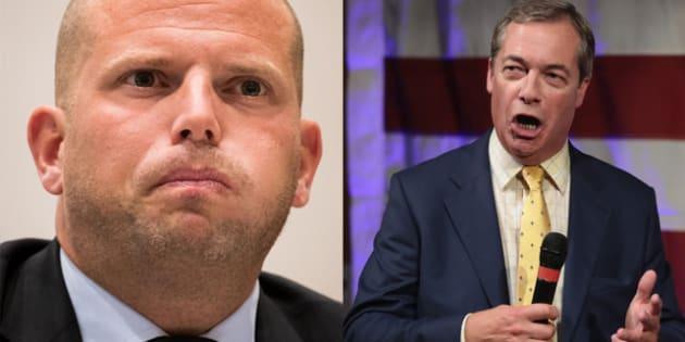 Theo Francken, secretario de inmigración belga, y Nigel Farage, líder del UKIP.