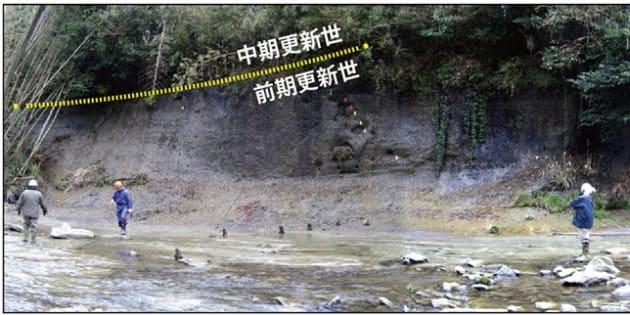 「チバニアン」の基準値として申請された千葉県市原市の地層。黄色い線が地質時代の境界線