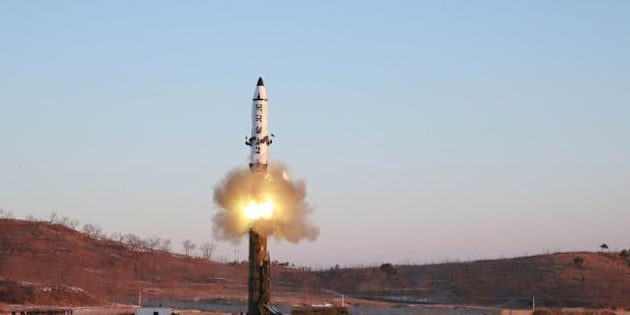 A view of the test-fire of Pukguksong-2 guided by North Korean leader Kim Jong Un, in this undated photo released by North Korea's Korean Central News Agency.