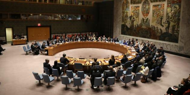 Le Conseil de sécurité de l'ONU réuni à New York le 5 avril 2017.