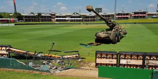 The cannon that crashed through the barriers at the SuperSport Park in Centurion on Thursday.