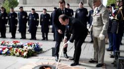 Les images d'Hollande et Macron pendant les cérémonies du 8