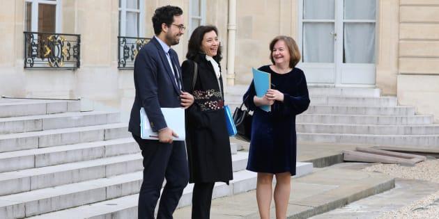 Mounir Mahjoubi, Delphine Gény-Stephann et Nathalie Loiseau à l'Elysée en avril 2018