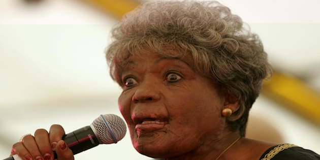 This is Thandi Klaasen performing in February 2006 at Sophiatown Park, during the official ceremony to change the suburb's name from Triomf back to its original name of Sophiatown, the name it had before the forced removals during apartheid. Klaasen was originally from Sophiatown herself.