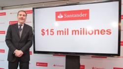 Santander anuncia inversión de 15 mil millones de pesos en