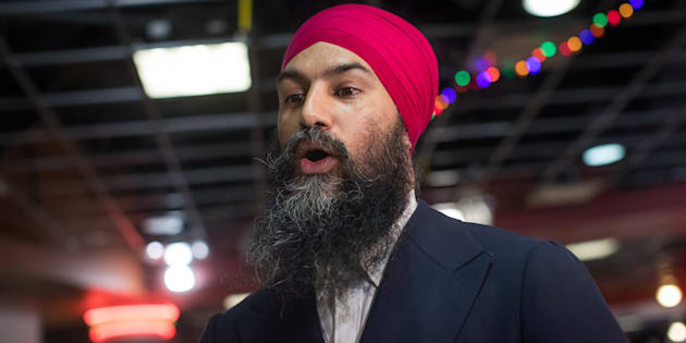 NDP LeaderJagmeetSinghcampaigns for the federal byelection, in the food court at an Asian mall in Burnaby, B.C., on Feb. 24, 2019.
