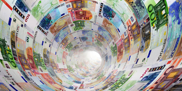 Tunnel of Euro banknotes towards light. The currency, money concepts for way to success, profit, banking etc.