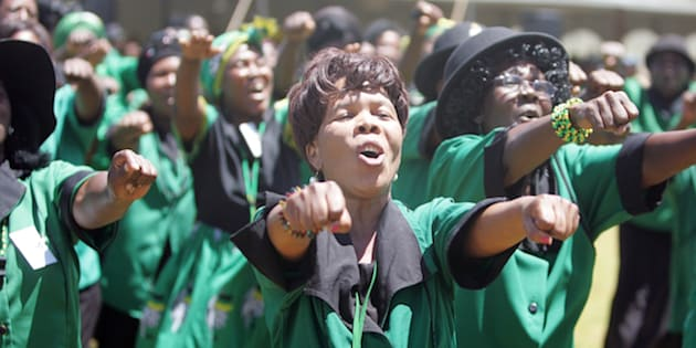 Members of the ANC Women'€™s League (ANCWL) sing and chant during the party's 105-year provincial celebrations on January 22, 2017 in Burgersfort, South Africa.