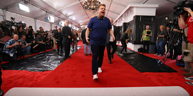 Le tapis rouge de la 59e cérémonie des Grammy Awards à Los Angeles.