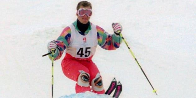 Edgar Grospiron en février 92 à Tignes pour les jeux d'Albertville. AFP PHOTO/PASCAL PAVANI / AFP PHOTO / PASCAL PAVANI