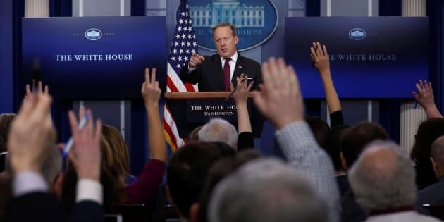 Le porte-parole de la Maison Blanche, Sean Spicer, lors de son point presse quotidien jeudi 23 février
