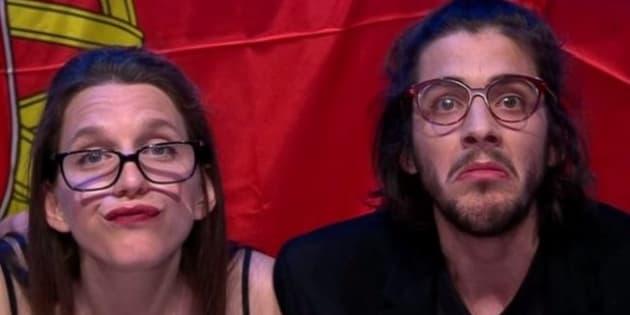 Salvador Sobral et sa sœur Luísa lors de la demi-finale de l'Eurovision.