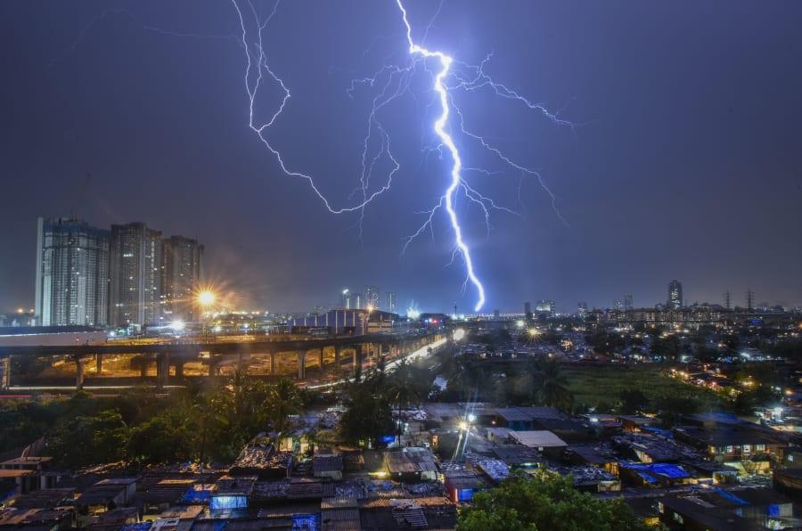 Lighting at Mumbai sky line with sudden heavy rain  on June 4, 2018 in Mumbai, India.