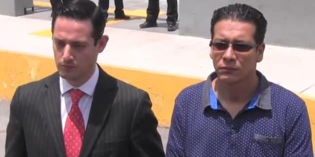 """El abogado Patricio Kegel Jacob y su cliente Luis Alberto """"N"""" después de la comparecencia."""