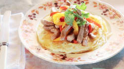 Start Your Day With These Egg Pancakes With Sweet And Sour Beef