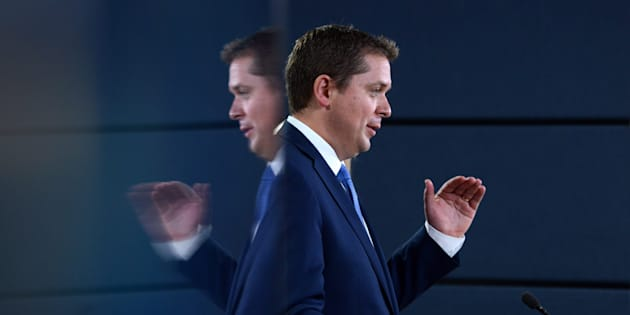 Conservative Party Leader Andrew Scheer makes an announcement and holds a media availability at the National Press Theatre in Ottawa on July 20, 2017.