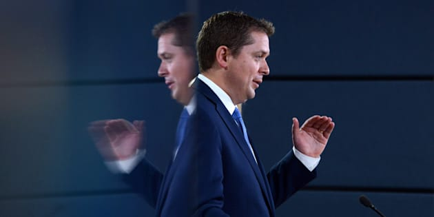 Conservative Leader Andrew Scheer speaks at the National Press Theatre in Ottawa on July 20, 2017.