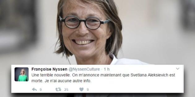 L'écrivaine Svetlana Alexievitch annoncée morte par un faux compte de Françoise Nyssen, la nouvelle ministre de la Culture