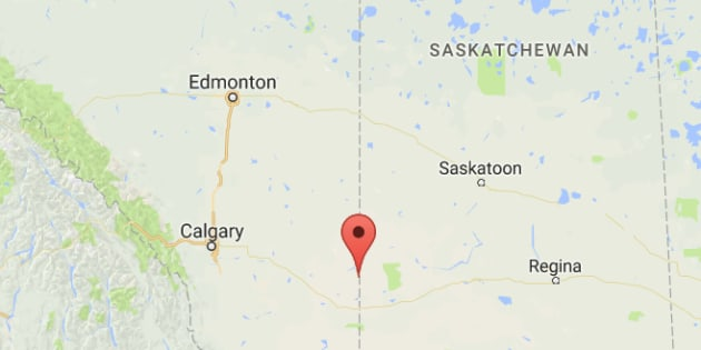 Hilda, Alta. is shown on a map. Firefighter James Hargrave died Tuesday near Hilda.
