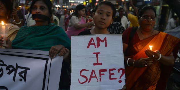 Indian residents of Siliguri protest against the gang rape of a nun at a Christian missionary school.