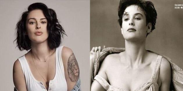 À gauche, Rumer Willis pour une collection limitée Gap, à droite sa mère, Demi Moore, égérie de la même marque en 1990.
