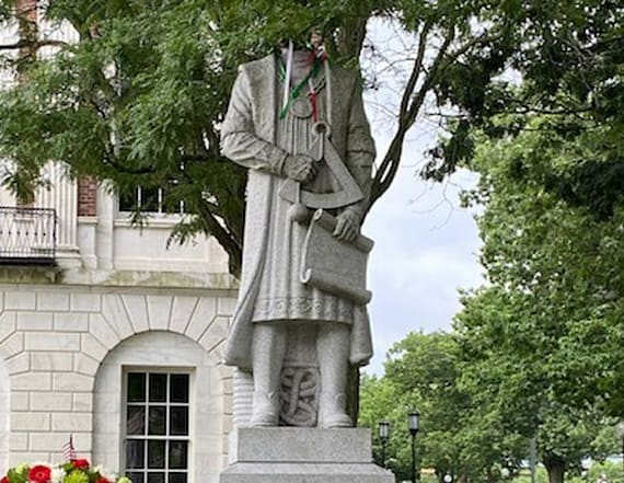 Columbus statue beheaded in Connecticut