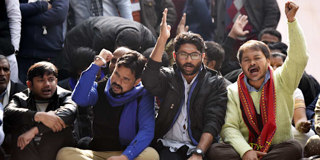 Kanhaiya Kumar, Vinay Ratan Singh of the Bhim Army, Dalit leader Jignesh Mevani  and peasant leader  Akhil Gogoi during the Yuva Hunkar Rally on January 9, 2018 in New Delhi.