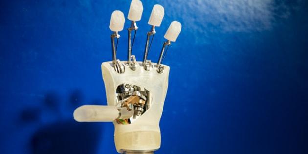 Struttura interna della mano robotica di design messo a punto nella Scuola Superiore Sant'Anna di Pisa (fonte: Scuola Superiore Sant'Anna)