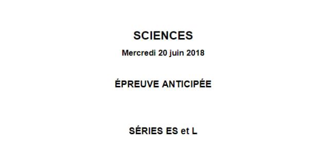 Le corrigé du sujet sciences du bac des séries L et ES