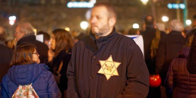 Lors du rassemblement contre l'antisémitisme, le 19 février 2019 Place de la République à Paris.