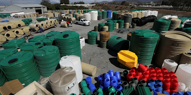Water-storage tanks await distribution at the Jojo water-tank factory in Worcester, South Africa.