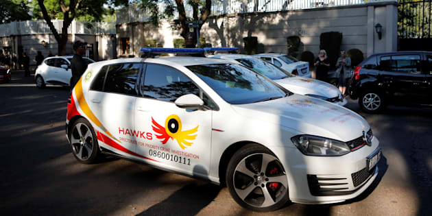 A patrol car belonging to the Hawks, The Directorate for Priority Crime Investigation, is seen outside the compound of the controversial business family Gupta in Johannesburg, South Africa, on February 14, 2018.