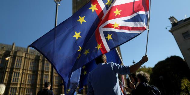 Militant anti-Brexit devant le Parlement à Londres le 8 octobre.