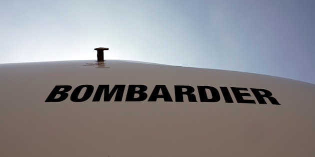 The logo of Bombardier is seen during the Latin American Business Aviation Conference & Exhibition fair at Congonhas Airport in Sao Paulo Brazil Aug. 14 2018