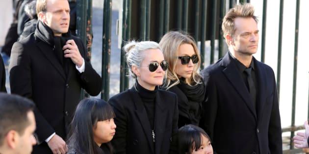 David Hallyday, Laura Smet et Laeticia Hallyday lors de l'hommage populaire pour Johnny Hallyday le 9 décembre à Paris.