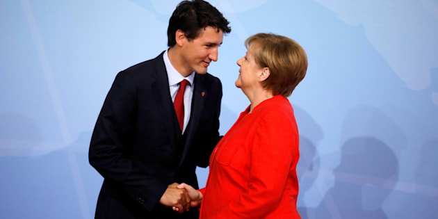 German Chancellor Angela Merkel welcomes Prime Minister Justin Trudeau at the G20 summit in Hamburg, Germany on July 7, 2017.