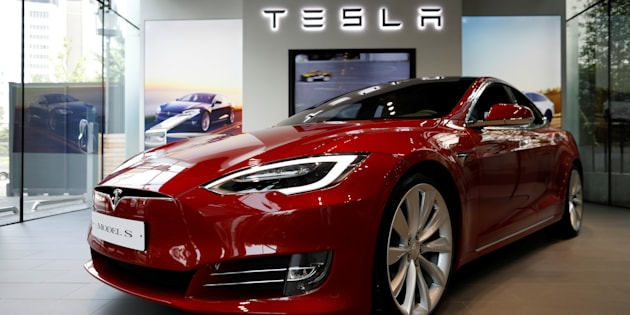 A Tesla Model S Electric Car At Dealership In Seoul South Korea July