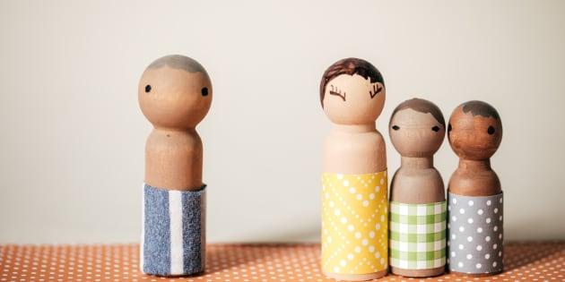 Multi-ethnic wooden family