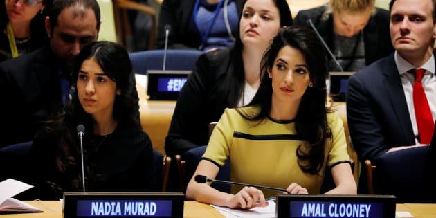 Amal Clooney, avec Nadia Murad, victime yézidie de l'Etat islamique, à l'ONU, le 9 mars 2017.