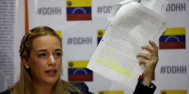Lilian Tintori lors d'une conférence de presse, le 29 août 2017 à Caracas, au Venezuela.