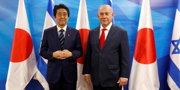 El primer ministro israelí, Benjamin Netanyahu, recibe a su homólogo japonés, Shinzo Abe, el pasado día 2 de mayo, en Jerusalén.