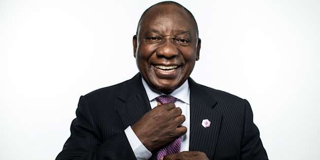 President Cyril Ramaphosa poses for a photograph following a Bloomberg Television interview in London on Wednesday, April 18 2018.