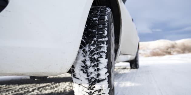 Close-up frozen car tire