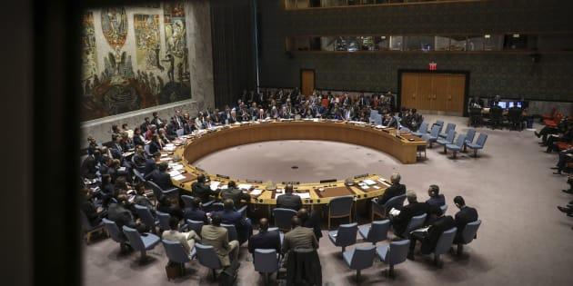 Le Conseil de sécurité de l'ONU à New Yorl le 14 avril 2018.