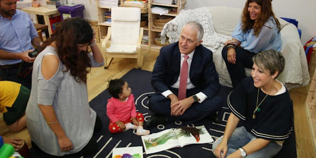 Prime Minister Malcolm Turnbull visits a Canberra childcare centre as he hopes his childcare package will pass the senate.