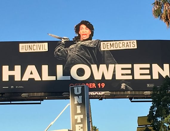 Artist imposes Democrat's head on movie billboard
