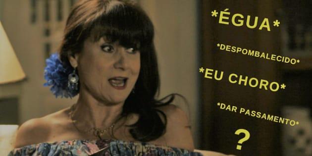 Dona Edinalva, interpretada por Zezé Polessa, está sempre despombalecida na novela. E aí, sabe o que é isso?